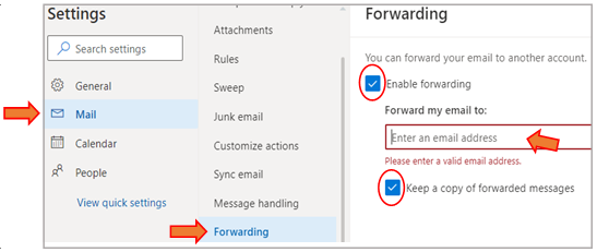 forwarding settings window
