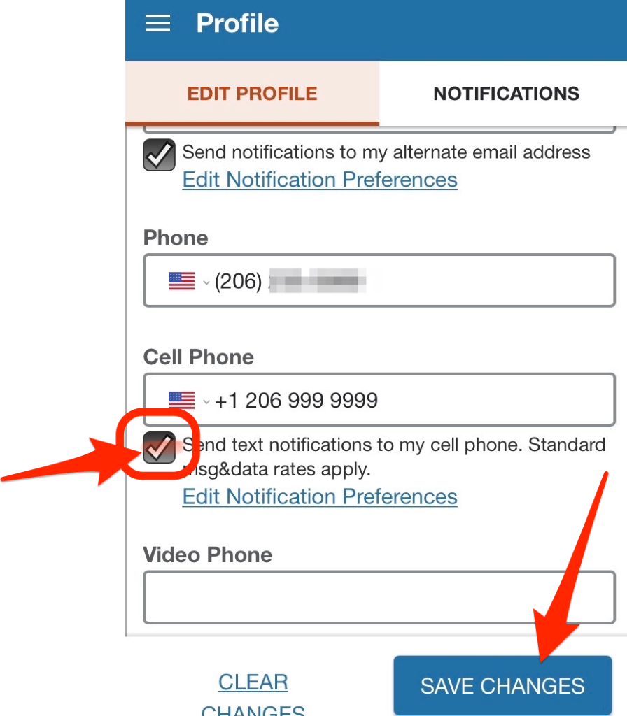 This image shows contact information section of the Starfish profile.  The option box under the Cell Phone field is checked. There is a red arrow pointing to this box, which is where you need to change your preference. Then click the Save Changes button at the bottom right of the screen.