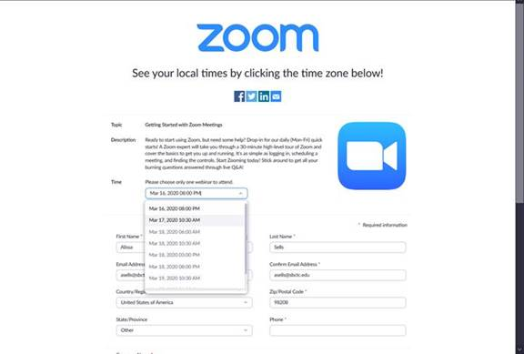 Zoom training registration page after selecting the type of training showing sign-up form and menu to select a training time