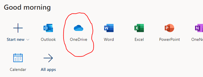 screenclip of O365 with OneDrive icon circled in red