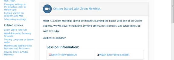 main Zoom training registration page with Getting Started in Zoom topic expanded showing the registratoin link or option to watch a video