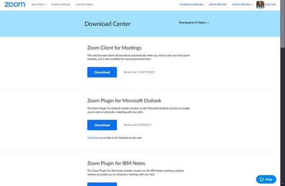 Zoom Download Center page